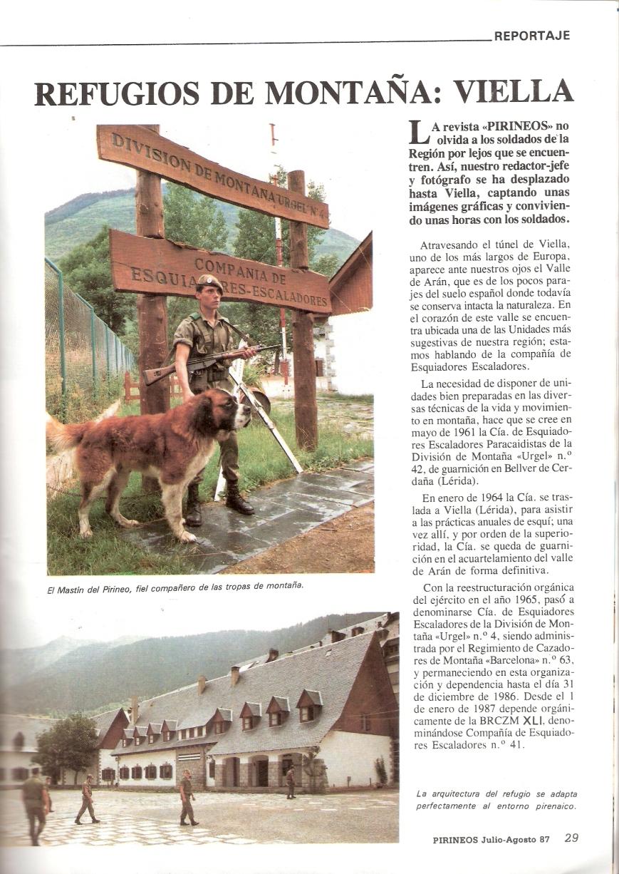 Publicación sobre la Compañia en la revista Pirineos