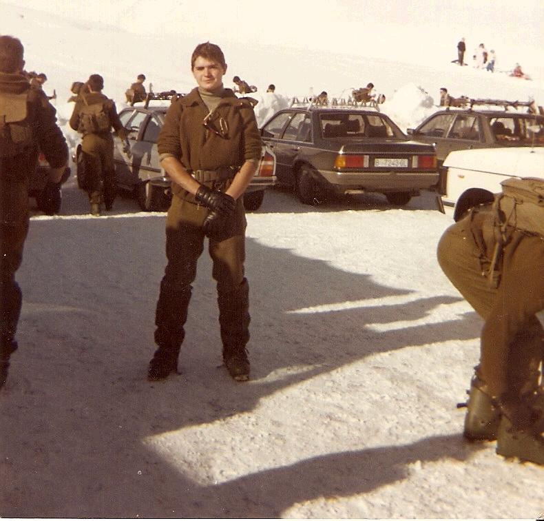 En el parking de Baqueira durante el curso de esqui.