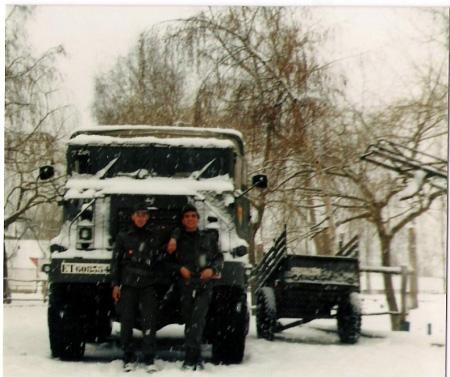 Nieto Y Ribadulla en uno de los camiones que nos subian a Baqueira Beret